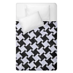 Houndstooth2 Black Marble & White Marble Duvet Cover Double Side (single Size) by trendistuff
