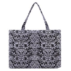 DMS2 BK-WH MARBLE Medium Zipper Tote Bag by trendistuff