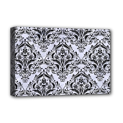 Damask1 Black Marble & White Marble (r) Deluxe Canvas 18  X 12  (stretched) by trendistuff