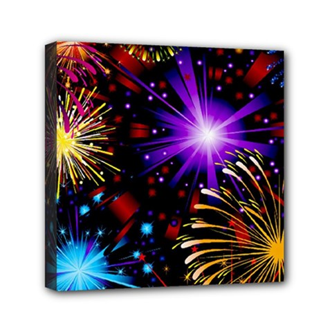 Celebration Fireworks In Red Blue Yellow And Green Color Mini Canvas 6  X 6  by Onesevenart
