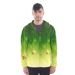 Christmas Green Background Stars Snowflakes Decorative Ornaments Pictures Hooded Wind Breaker (men) by Onesevenart