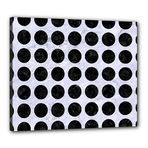 Circles1 Black Marble & White Marble (r) Canvas 24  X 20  (stretched) by trendistuff