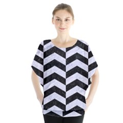 Chevron2 Black Marble & White Marble Batwing Chiffon Blouse by trendistuff