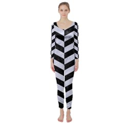 Chevron1 Black Marble & White Marble Long Sleeve Catsuit by trendistuff