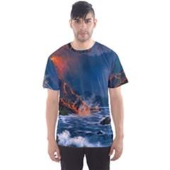 Eruption Of Volcano Sea Full Moon Fantasy Art Men s Sport Mesh Tee by Onesevenart