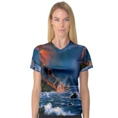 Eruption Of Volcano Sea Full Moon Fantasy Art Women s V Neck Sport Mesh Tee by Onesevenart