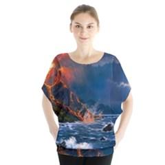 Eruption Of Volcano Sea Full Moon Fantasy Art Blouse by Onesevenart