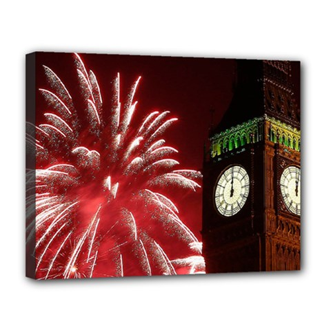 Fireworks Explode Behind The Houses Of Parliament And Big Ben On The River Thames During New Year's Canvas 14  X 11  by Onesevenart