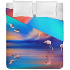 Flamingo Lake Birds In Flight Sunset Orange Sky Red Clouds Reflection In Lake Water Art Duvet Cover Double Side (california King Size) by Onesevenart