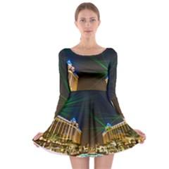 Galaxy Hotel Macau Cotai Laser Beams At Night Long Sleeve Skater Dress by Onesevenart