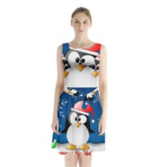 Happy Holidays Christmas Card With Penguin Sleeveless Chiffon Waist Tie Dress by Onesevenart
