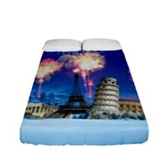 Happy New Year Celebration Of The New Year Landmarks Of The Most Famous Cities Around The World Fire Fitted Sheet (full/ Double Size) by Onesevenart