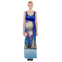 Happy New Year Celebration Of The New Year Landmarks Of The Most Famous Cities Around The World Fire Maxi Thigh Split Dress by Onesevenart