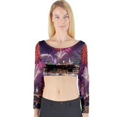 New Year New Year's Eve In Salzburg Austria Holiday Celebration Fireworks Long Sleeve Crop Top by Onesevenart