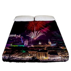 New Year New Year's Eve In Salzburg Austria Holiday Celebration Fireworks Fitted Sheet (California King Size) by Onesevenart