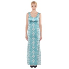 Snake Skin Blue Chevron Wave Maxi Thigh Split Dress by AnjaniArt