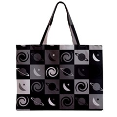 Space Month Saturnus Planet Star Hole Black White Grey Zipper Mini Tote Bag by AnjaniArt