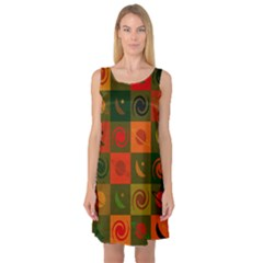 Space Month Saturnus Planet Star Hole Black White Multicolour Orange Sleeveless Satin Nightdress by AnjaniArt