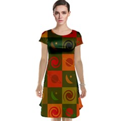 Space Month Saturnus Planet Star Hole Black White Multicolour Orange Cap Sleeve Nightdress by AnjaniArt