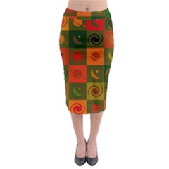 Space Month Saturnus Planet Star Hole Black White Multicolour Orange Midi Pencil Skirt by AnjaniArt