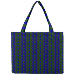 Split Diamond Blue Green Woven Fabric Mini Tote Bag by AnjaniArt
