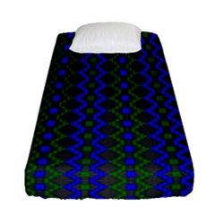 Split Diamond Blue Green Woven Fabric Fitted Sheet (single Size) by AnjaniArt