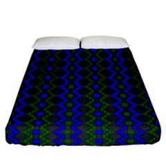 Split Diamond Blue Green Woven Fabric Fitted Sheet (queen Size) by AnjaniArt