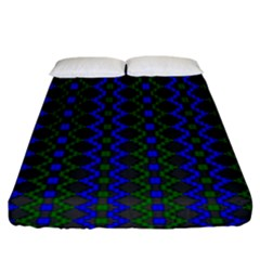 Split Diamond Blue Green Woven Fabric Fitted Sheet (king Size) by AnjaniArt
