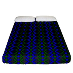 Split Diamond Blue Green Woven Fabric Fitted Sheet (california King Size) by AnjaniArt