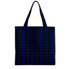 Split Diamond Blue Green Woven Fabric Zipper Grocery Tote Bag by AnjaniArt