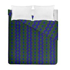 Split Diamond Blue Green Woven Fabric Duvet Cover Double Side (full/ Double Size) by AnjaniArt