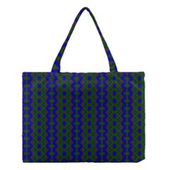 Split Diamond Blue Green Woven Fabric Medium Tote Bag by AnjaniArt