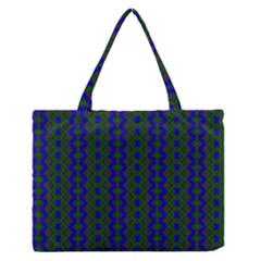 Split Diamond Blue Green Woven Fabric Medium Zipper Tote Bag by AnjaniArt