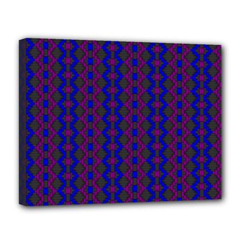 Split Diamond Blue Purple Woven Fabric Canvas 14  X 11  by AnjaniArt
