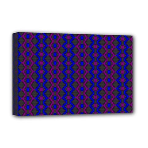 Split Diamond Blue Purple Woven Fabric Deluxe Canvas 18  X 12   by AnjaniArt