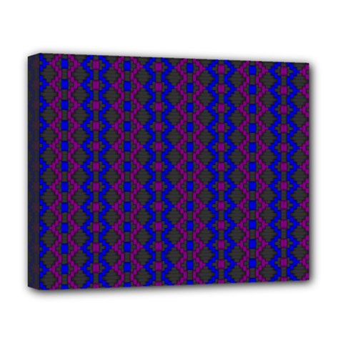 Split Diamond Blue Purple Woven Fabric Deluxe Canvas 20  X 16   by AnjaniArt