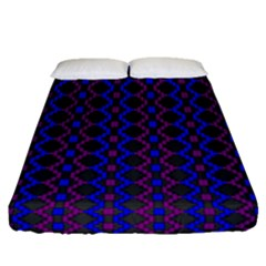 Split Diamond Blue Purple Woven Fabric Fitted Sheet (queen Size) by AnjaniArt