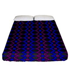 Split Diamond Blue Purple Woven Fabric Fitted Sheet (king Size) by AnjaniArt