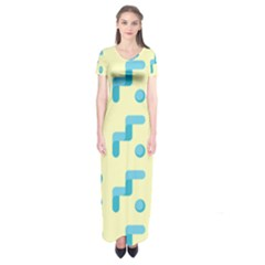 Squiggly Dot Pattern Blue Yellow Circle Short Sleeve Maxi Dress by AnjaniArt