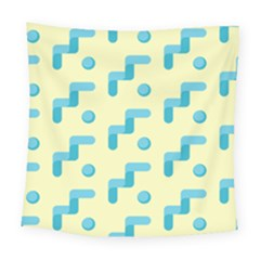Squiggly Dot Pattern Blue Yellow Circle Square Tapestry (large) by AnjaniArt