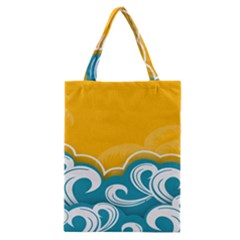 Summer Sea Water Wave Tree Yellow Blue Classic Tote Bag by AnjaniArt