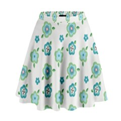 Valentine Chevron Papers Flower Floral Green Flowering High Waist Skirt by AnjaniArt