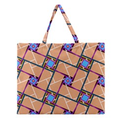 Wallpaper Overlaid Brown Line Purple Blue Box Zipper Large Tote Bag by AnjaniArt