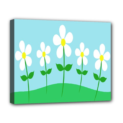 Flower Floral Blue Sky Green Leaf Deluxe Canvas 20  X 16   by AnjaniArt