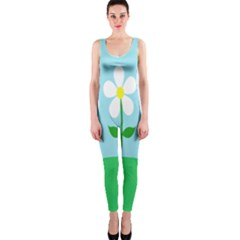 Flower Floral Blue Sky Green Leaf Onepiece Catsuit by AnjaniArt