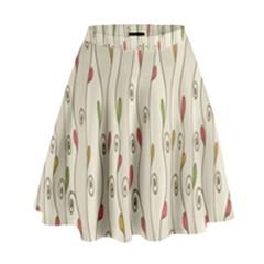 Flower Floral Leaf High Waist Skirt by AnjaniArt