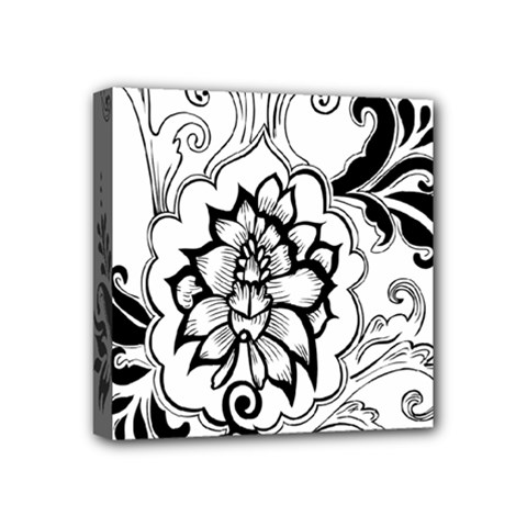 Free Floral Decorative Mini Canvas 4  X 4  by AnjaniArt