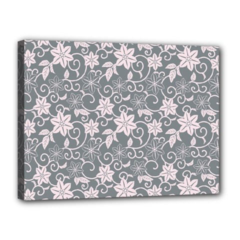 Gray Flower Floral Flowering Leaf Canvas 16  X 12  by AnjaniArt