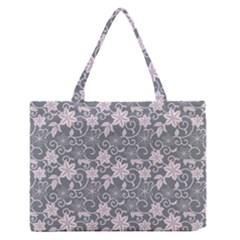 Gray Flower Floral Flowering Leaf Medium Zipper Tote Bag by AnjaniArt