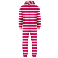 Horizontal Stripes Hot Pink Hooded Jumpsuit (Men)  by AnjaniArt